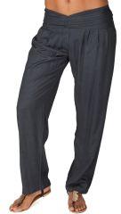 Pantalon Ethnique et Original pour femme taille basse Giulio Gris Foncé 282297