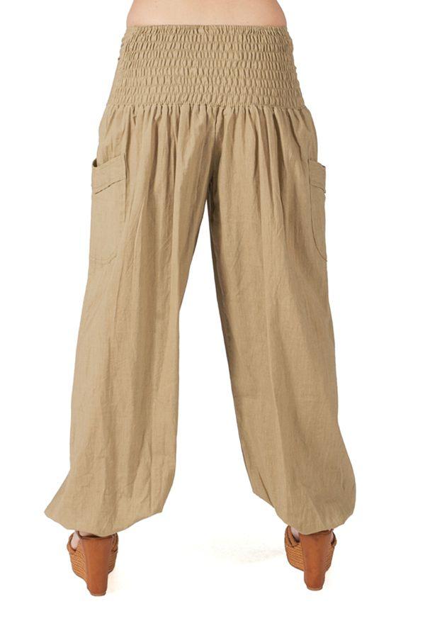 Pantalon Ethnique et Original pour femme taille basse Giulio Sable 282264