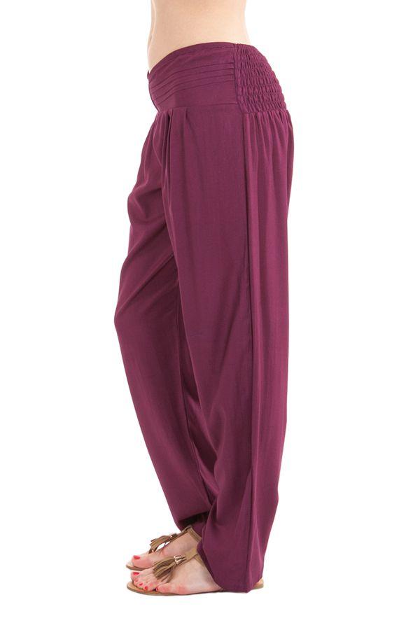 Pantalon Ethnique et Original pour femme taille basse Giulio Violet 282296