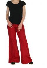 Pantalon ethnique léo uni rouge 262407
