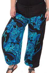 Pantalon Ethnique pour Femme ronde Imprimé Bastien Bleu 283767