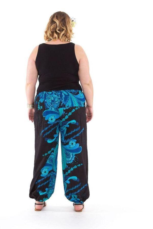 pantalon ethnique pour femme ronde imprim bastien bleu. Black Bedroom Furniture Sets. Home Design Ideas