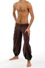 Pantalon ethnique pour homme de couleur marron en coton Louis 305475