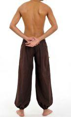 Pantalon ethnique pour homme de couleur marron en coton Louis 305476