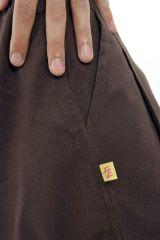 Pantalon ethnique pour homme de couleur marron en coton Louis