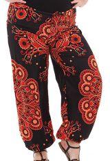 Pantalon Ethnique Rouge pour Femme ronde Imprimé Bastien 283770