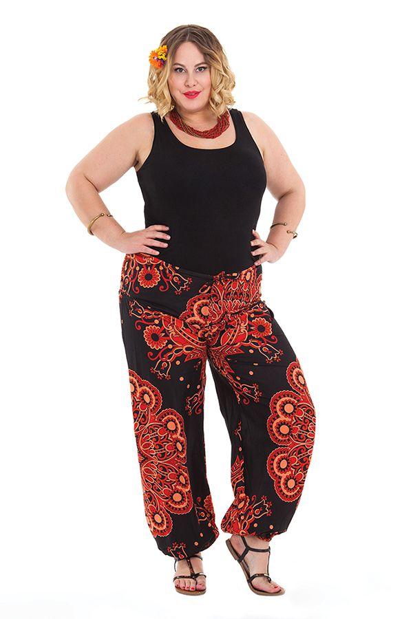 pantalon ethnique rouge pour femme ronde imprim bastien. Black Bedroom Furniture Sets. Home Design Ideas