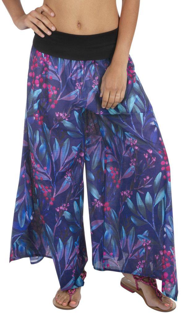 Pantalon extra large à imprimé fleuri coton pour femme Isa