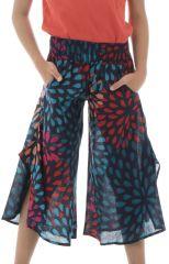 Pantalon fantaisie avec ouvertures aux jambes et imprimés Samy 294121