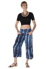 Pantalon fantasque coupe 3/4 avec 2 poches tie & die bleu nuit Calypso 288384