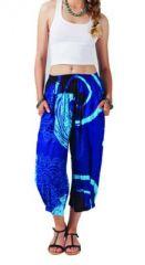 Pantalon femme 3/4 imprimé bleu Adhara 267462