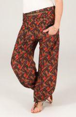 Pantalon femme à taille plissée et imprimé Cléore 287066