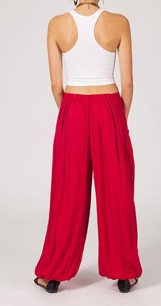 Pantalon femme ample Karime rouge 268102