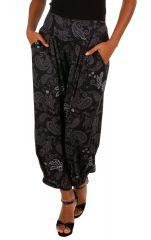 Pantalon femme ample noir avec un imprimé hippie-chic Eowyn