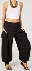 Pantalon femme baggy bouffant noir en coton Roms 270995