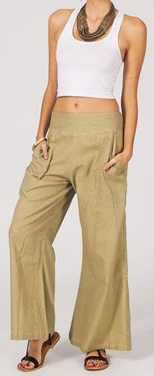 Pantalon femme beige effet évasé en coton léger Gaspa 270728