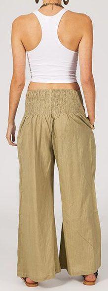 Pantalon femme beige effet évasé en coton léger Gaspa 270729
