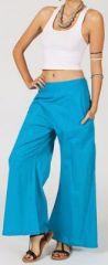 Pantalon femme bleu clair effet évasé en coton léger Gaspa 270734