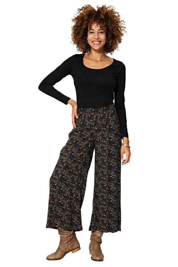 Pantalon femme bohème large taille élastique Daniela