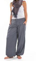 Pantalon femme bouffant gris clair look décontracté Jumino 305539