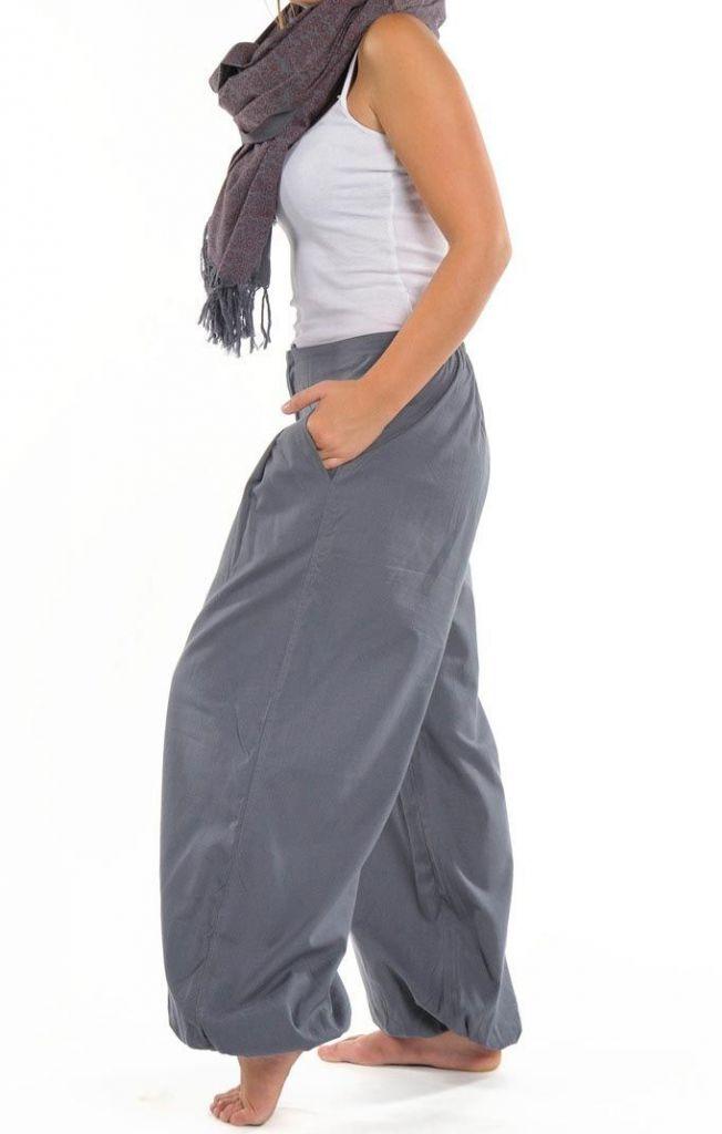 Pantalon femme bouffant gris clair look décontracté Jumino 305540