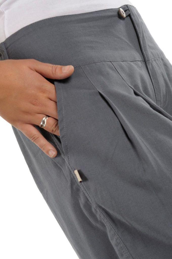 Pantalon femme bouffant gris clair look décontracté Jumino 305541