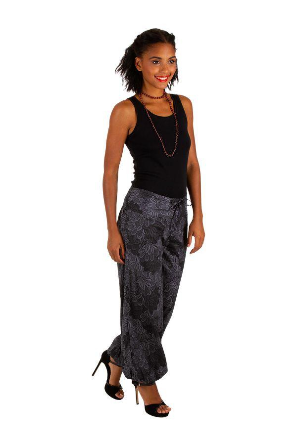 Pantalon femme bouffant gris look bohème tendance Jehan 305978