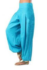 Pantalon femme bouffant turquoise Audric 267434