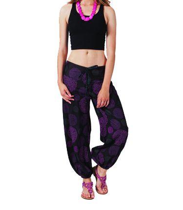 Pantalon femme coloré noir et violet Alyson 267443