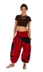 Pantalon femme coloré parfait pour festival Bassila rouge 313588