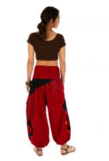 Pantalon femme coloré parfait pour festival Bassila rouge 313589