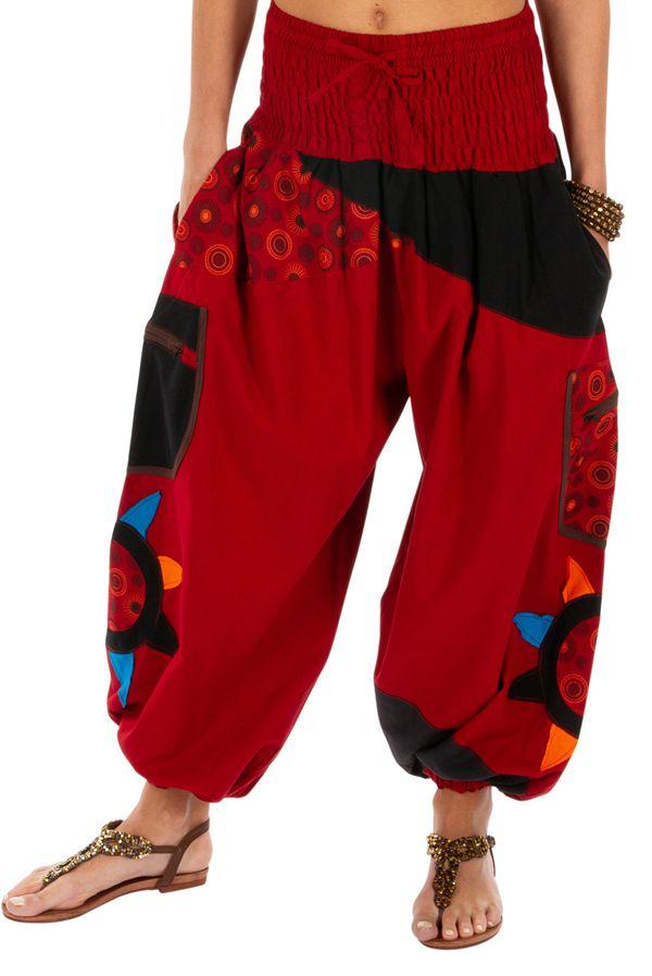 Pantalon femme coloré parfait pour festival Bassila rouge 313590