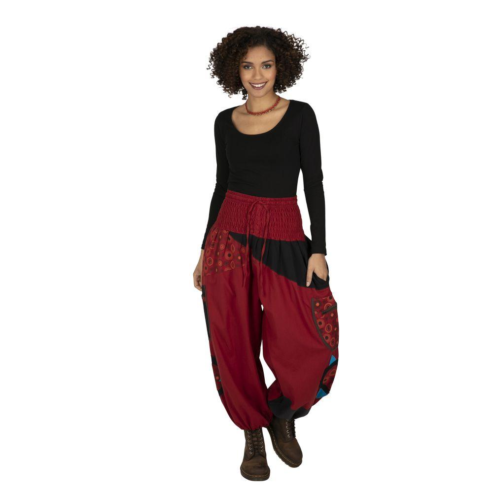 Pantalon femme coloré parfait pour festival Bassila rouge 323286