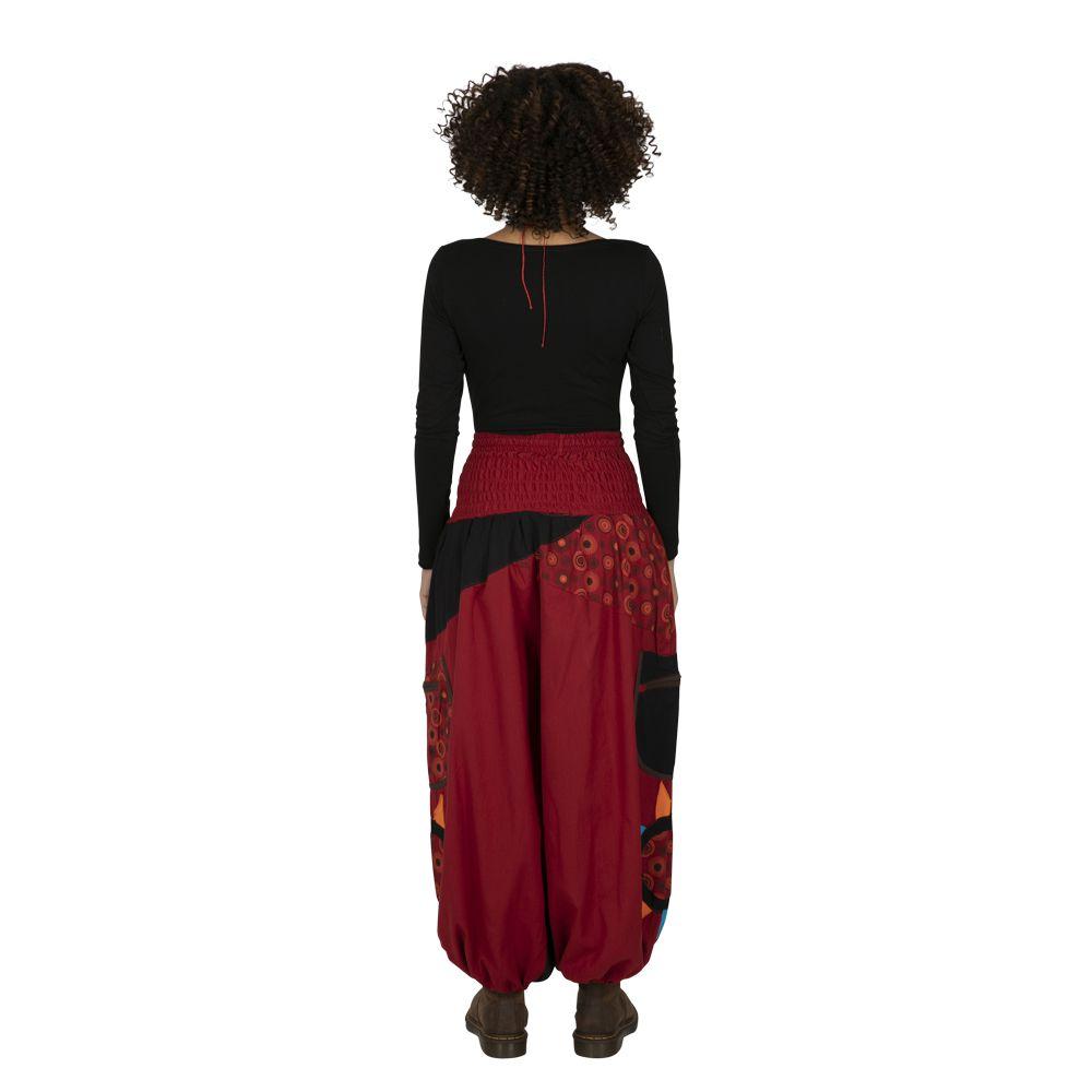 Pantalon femme coloré parfait pour festival Bassila rouge 323287