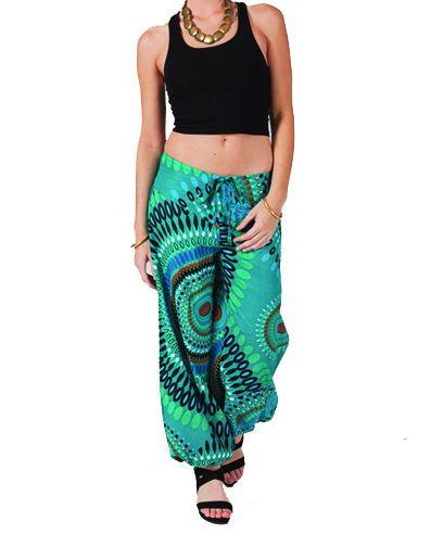 Pantalon femme coloré turquoise Alyson 267442