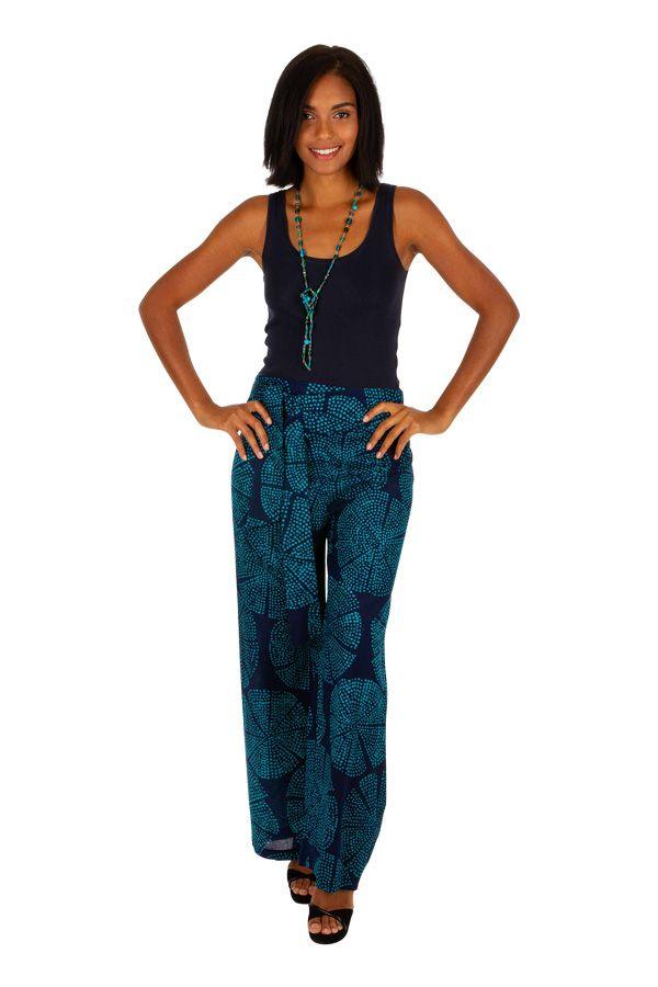Pantalon femme coupe droite bleu marine Magdalena