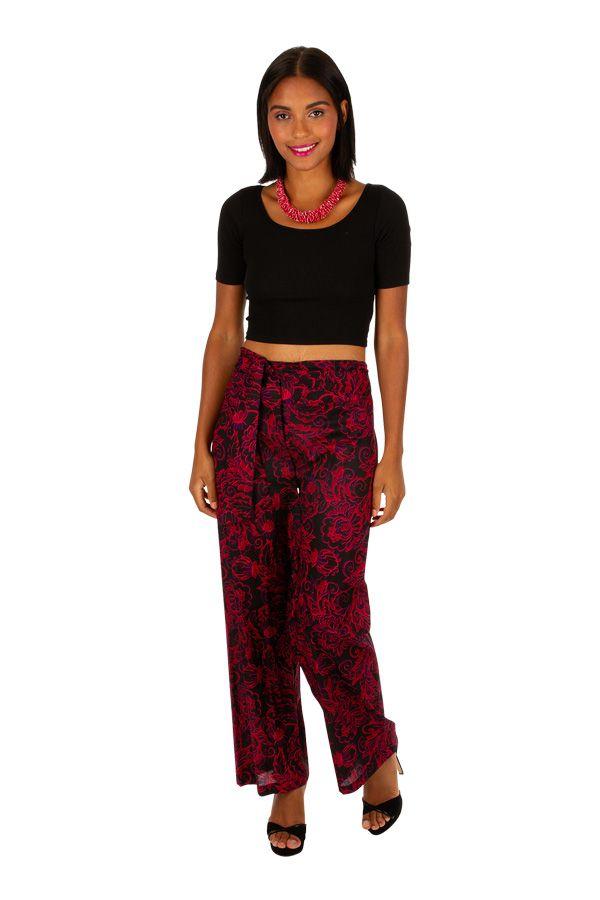 Pantalon femme coupe droite large en voile de coton Livia