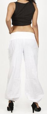 Pantalon femme d'été bouffant en coton uni blanc Cikus 271133