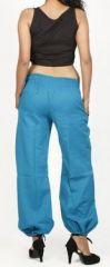 Pantalon femme d\'été bouffant en coton uni bleu Cikus