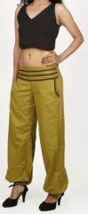 Pantalon femme d'été bouffant en coton uni vert Cikus 271130