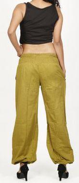 Pantalon femme d\'été bouffant en coton uni vert Cikus