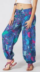 Pantalon Femme d'été Ethnique et Coloré Harold Bleu 287088