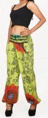 Pantalon femme d'été imprimé et décontracté anis Divola 271691