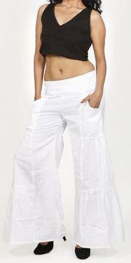 Pantalon femme d'été original et pas cher Blanc Cassio 272207