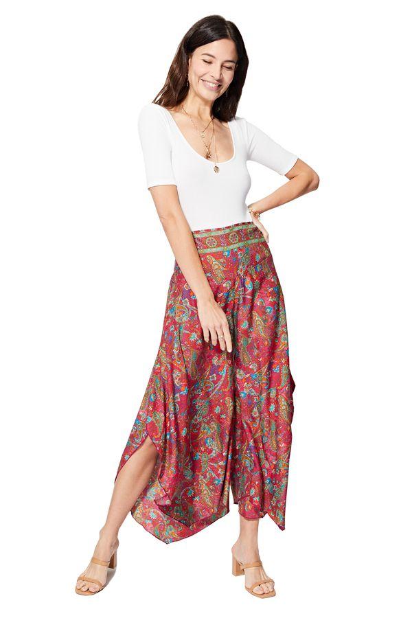 Pantalon femme décontracté fluide original ethnique Nanako