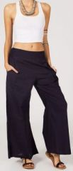 Pantalon femme effet évasé en coton bleu marine Gaspa 270724