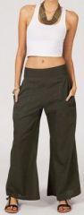 Pantalon femme effet évasé kaki en coton léger Gaspa 270722
