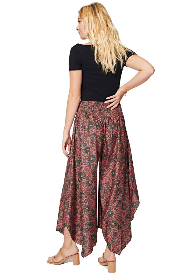 Pantalon femme élastique été chic fluide imprimé fleurs Nako