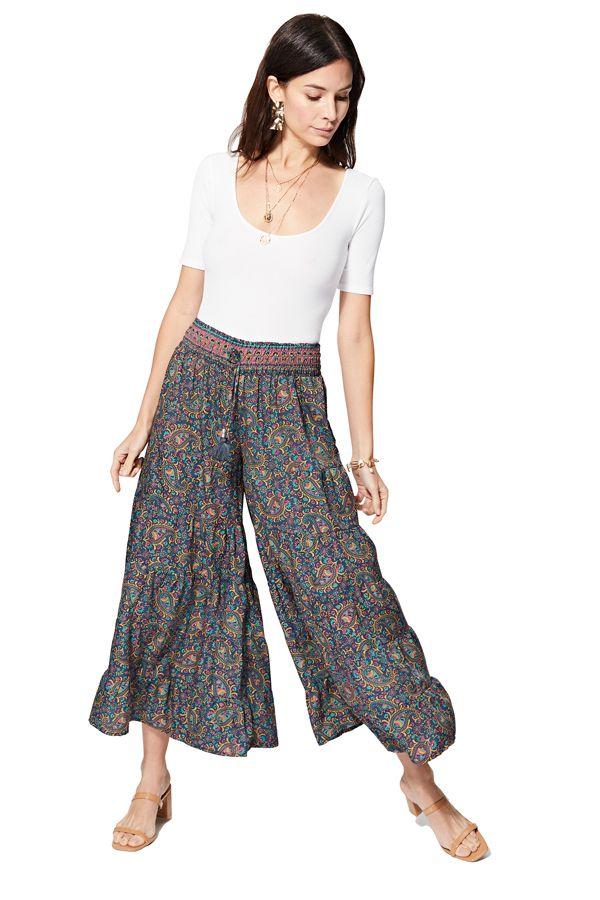 Pantalon femme élastique fluide chic bohème Mikako