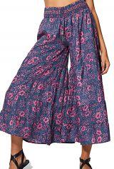 Pantalon femme élastique imprimé fleurs mode bohème Misato